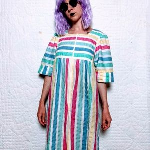 VTG Rainbow 70s 80s Maxi Summer Moo Moo Dress